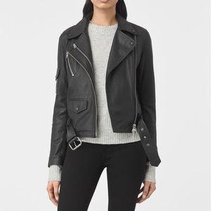 All Saints Harland Black Leather Jacket US 10